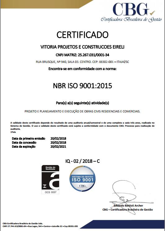 Certificação NBR ISO9001:2015