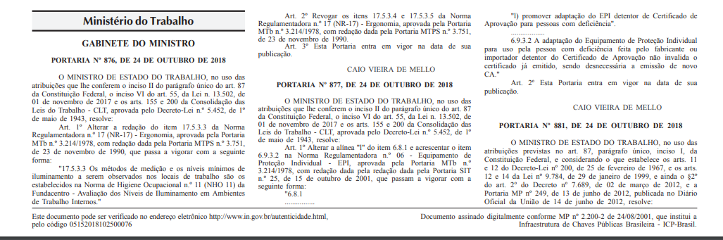 Portarias nº 876 e 877 - Alteram as Normas Regulamentadoras NR 17 e ... 9705bf4dc4