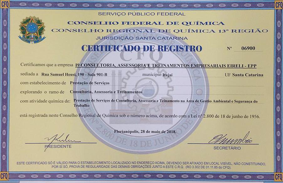 Registro Conselho Regional de Química – CRQ