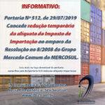 Informativo: Redução temporária da alíquota do Imposto de Importação