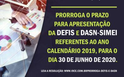 Resolução nº 153/2020 – Prorroga prazo da Defis e DASN