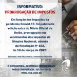 Coronavírus: Prorrogação de impostos – Resolução Nº 152 – 18/03/2020