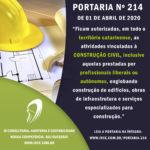 PORTARIA nº 214 – Autoriza a retorno das atividades de construção civil