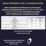 MP Nº 932 – Reduz alíquota das contribuições aos serviços sociais autônomos