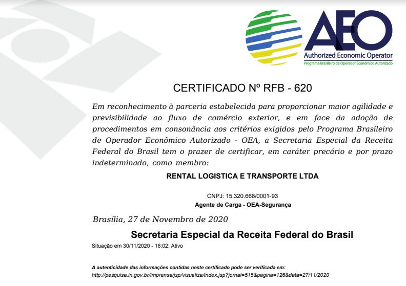 Certificação OEA - Rentalog