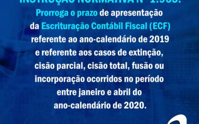 IN Nº 1.965 – Prorroga o prazo de apresentação da Escrituração Contábil Fiscal (ECF)