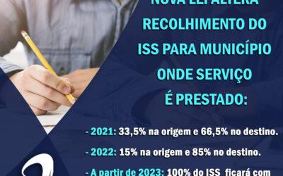 Notícia: Nova lei altera recolhimento do ISS para município onde serviço é prestado