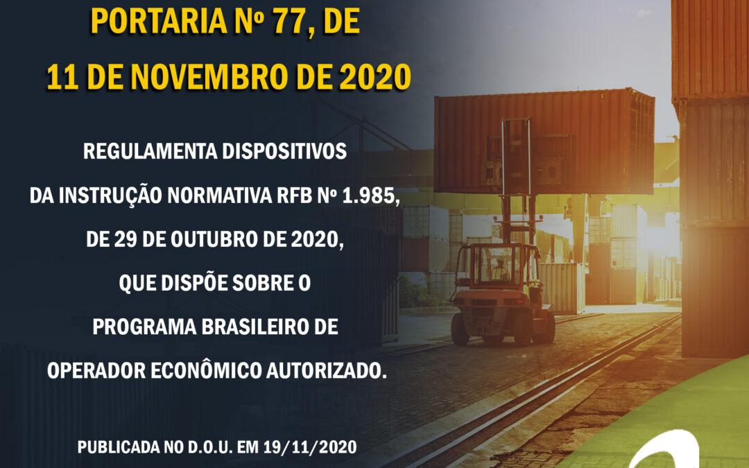 OEA – COANA – PORTARIA Nº 77, DE 11 DE NOVEMBRO DE 2020