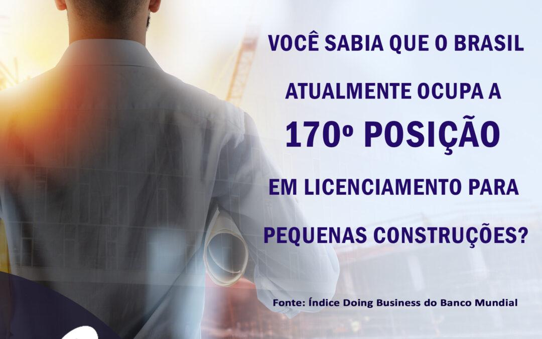Curiosidade: Você sabia que o Brasil atualmente ocupa a 170º posição em licenciamento para pequenas construções?