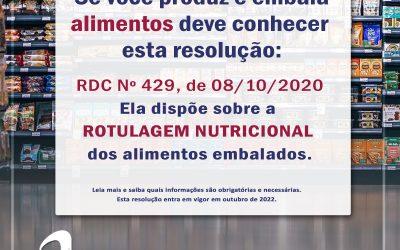 RDC 429 – rotulagem nutricional dos alimentos embalados.